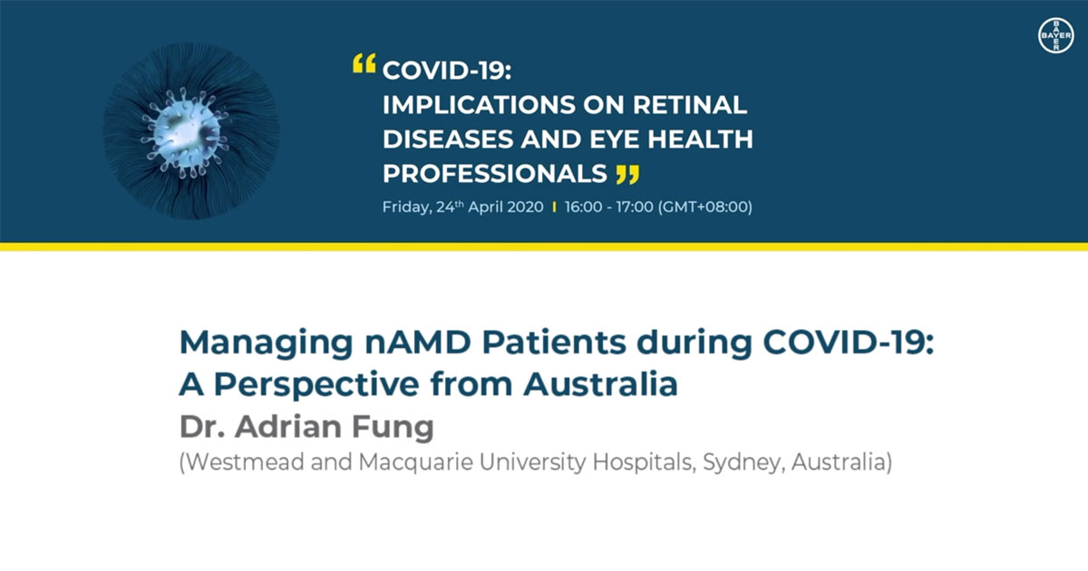 Watch Assoc Prof Fung discussing the RANZCO COVID-19 Triage Guidelines that determine which patients should be seen during the pandemic.