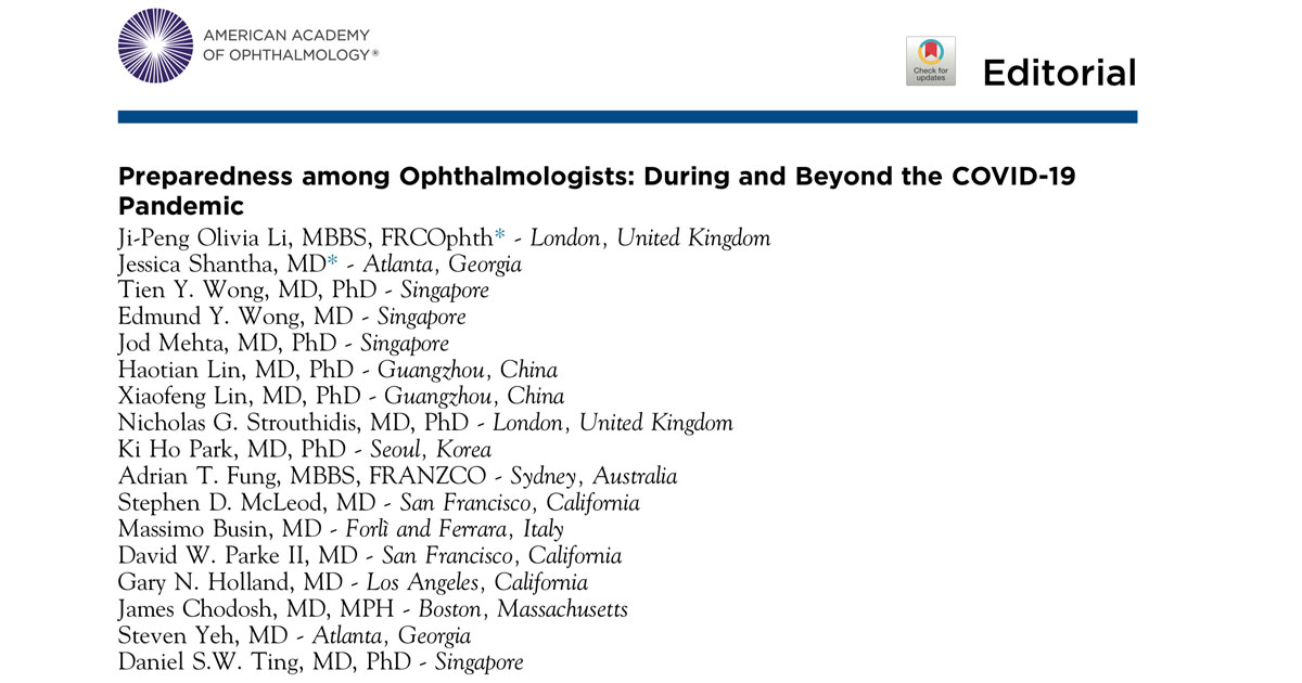 COVID-19 has impacted every aspect of ophthalmology.  In this editorial from Ophthalmology, Assoc Prof Fung was invited to provide perspective on the Australian experience.
